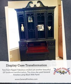 Lamp Black is one of General Finishes most popular milk paint colors.  Flippin Junk, https://www.facebook.com/flippinjunkdiva?fref=ts, used it to revitalize this piece. We'd love to see your projects made with General Finishes products! Tag us with #GeneralFinishes or share with us through our facebook page.