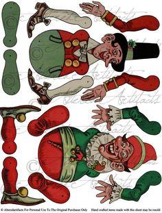Instant Download Santa's Elfs Jumping Jack by AlteredArtifacts