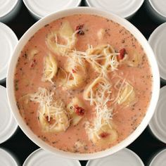 tomato and cheese tortellini soup- sounds good and only 245 calories per serving! We will be trying this!