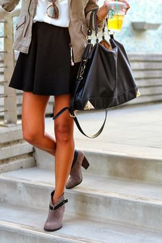 fashion, cloth, style, ankle boots, bag, outfit, skater skirts, shoe, booti