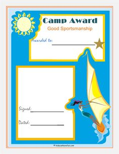 camp activities, camp sportsmanship, camp card, camps, summer camp
