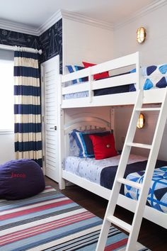 Nautical kids bunk room via House of Turquoise: Brittney Nielsen Interior Design