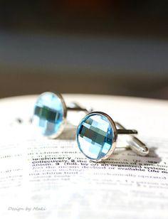 Etsy Men Picks-Perfect Round Swarovski Crystal Aqua Blue Silver Cufflinks,Wedding,Groom gifts,Etsy Dude, Fathers Day,Etsy Weddings,Best Men via Etsy