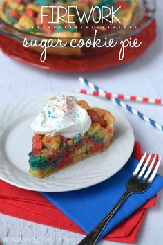 This Firework Sugar Cookie Pie is insanely delicious and like face planting into the biggest softest most delicious sugar cookie ever! firework cookies, firework sugar, cooki pie