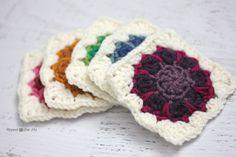 Crochet Dahlia Squares - Tutorial  ❥ 4U // hf