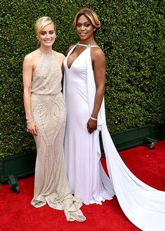 Orange is the new red carpet!  OITNB's Taylor Schilling and Laverne Cox graced the red carpet in L.A. for the 2014 Emmy Awards!