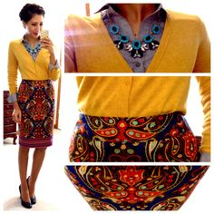 I would never think to put these colors/patterns together, but I love this look! Great print and the bright yellow cardi really pops.