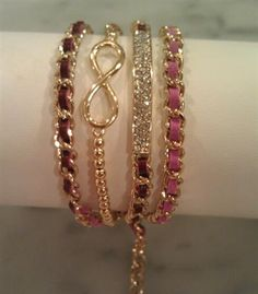 $35 Pre Stacked Bracelets - Gold Infinity & Wine/Pink Wrap