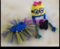 Despicable Me For Girl Crochet Hat with earflaps,boots and  tutu Diaper Cover and bow, Minion Halloween costume, Despicable me  baby costume on Etsy, $28.99