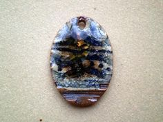 Ceramic and Glass Oval Bead Rustic Bohemian by spinningstarstudio, $4.50