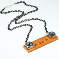 Found Object Jewelry- Upcycled Folding Ruler Gunmetal Hardware Necklace