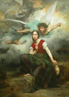 Jeanne d'Arc, by Eugene Thirion (1876). jehann darc, joan, thirion 1876, church, archangel michael, catholic saints, eugen thirion, artwork, jeann darc