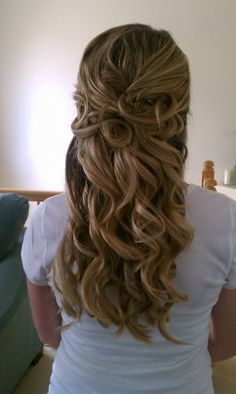 Wedding hair, curly half up- a little more shaped in the back but like this!