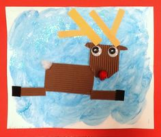 winter art, reindeer, art lesson, texture, textur rudolph, collages, christma art