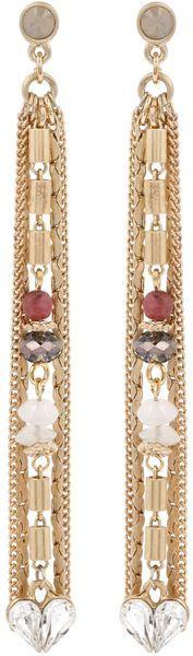 #Boudoir Long Tassel Crystal Heart Earrings  #Fashion #New #Nice #Earrings #2dayslook  www.2dayslook.com