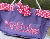 Personalized Mini Market Tote Girls Purple Monogrammed Pink Beach Pool Tote Easter Basket Teacher Gift Graduation