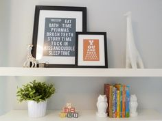 Perfectly styled shelves in this #babyboy #nursery. Love love love the grey sign. Etsy maybe??