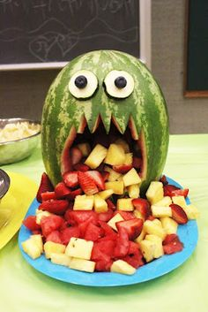 Spooktacular Halloween #party ideas, melon fruit monster! BabyCentre Blog--little monster party. oh boys...