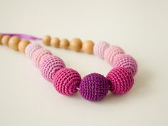 Bell-flowers Nursing Necklace - ombre, purple, violet, lilac  - mom jewelry, baby shower gift, baby teether. $23.00, via Etsy.