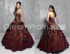 Wonderful ball gown strapless Floor-length Taffeta Burgundy Quinceanera Gown Q166