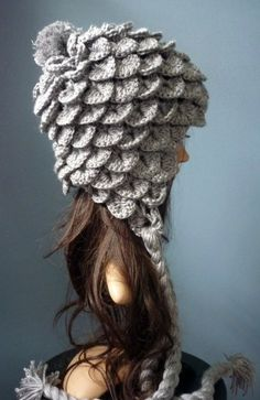Croco stitch hat! @Jennifer Milsaps L Milsaps L Milsaps Clement, reminds me of Lindsey Stirling in the zelda video! in blues and greens or reds and oranges crock and dragon hats!