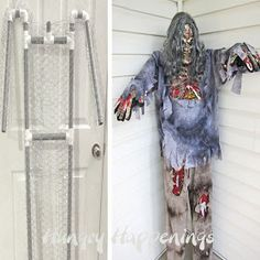 I've been trying to figure out how to use PVC pipe and still put clothes on him/her without a rectangular base on the bottom.  This woman puts rebar in the ground (like scary lady does for tombstones), drills holes in the feet/shoes and just slides them over.  Build a Halloween prop using pvc