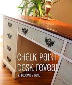 Before and after desk with homemade chalk paint :)