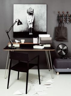 black work space interior, home office design, office designs, work space, workspaces, desks, homes, black, home offices