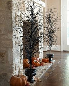 Black trees for halloween, good idea for non functional fireplaces