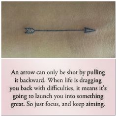 Arrow tattoo - keep moving forward.