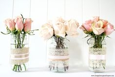 recycled jars become pretty spring vases =)