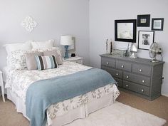 Light blue/grey bedroom. Grey dressers + white handles. - drawers in nice grey or duck egg blue