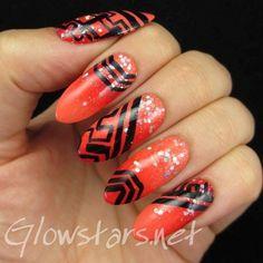 A gradient, glitter and some random patterns via #glowstars #orange #nailart - bellashoot.com