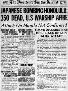 Attack on Pearl Harbor by Japan on December 7, 1941