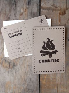 Campfire Party Invitations Fill in set of 12 by ampersandink