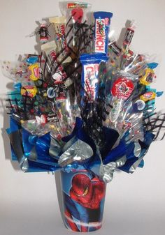 SPIDERMAN Candy Bouquet Use as a Gift or as a by CandyFlorist, $23.95