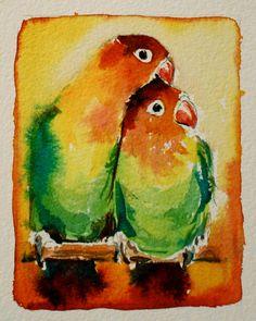 love birds original watercolour painting by christydekoning