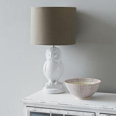 White Ceramic Owl Lamp and Shade