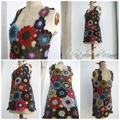 ♥ crochet flowers, adult dress, flores a crochet, flower dresses, flower tunic, crochet top, dress inspir, diy crochet, crochet idea