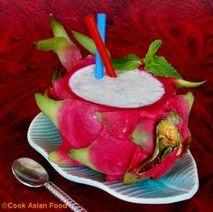 Make a dragon fruit smoothie and serve it inside the bowl itself ...!