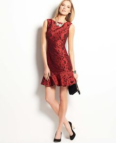 Floral Jacquard Flounce Dress #ATHauteHoliday