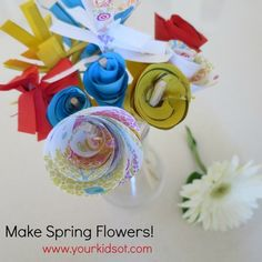 Make Spring Flowers: A super cutting and rolling activity for kids.