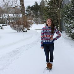 Lobster sweater, snow and #LLBean Bean Boots