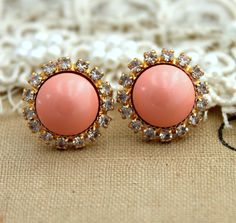 Stud earring Blush Pink pearls, bridal earrings, bridesmaids earrings - 14k plated gold post earrings real swarovski pearls.