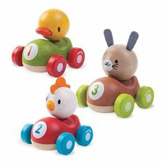 Easter Pals Push Cars by Plan Toys