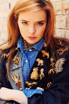 Jane Aldridge, Sea of Shoes. Love all of the pins on her jacket!