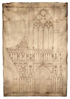 1260 architectural drawing of Strasbourg Cathedral