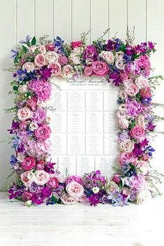 A floral frame makes a pretty place card presentation.