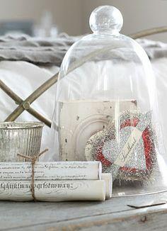Tinsel Valentine heart under glass cloche