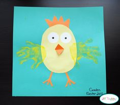 Cute Easter or spring art project for kids.  Paint, handprints & some card stock equal one cute chick!
